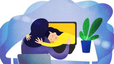 Tietokoneen ruudusta tuleva nainen halaa tietokoneella työtä tekevää naista