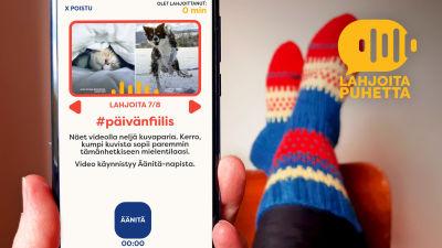 Puhelimen näyttö ja villasukat jalassa