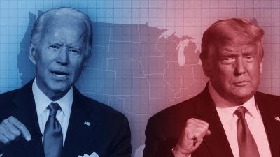 Joe Biden med blå bakgrund och Donald Trump med röd bakgrund.