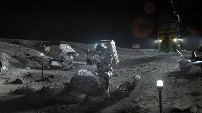Astronautit Kuun pinnalla