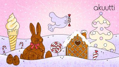 Vaaleanpunapohjaisessa kuvassa suklaapupu, suklaamökki, jäätelö, rauhakyyhky karkkisuussa ja lumisessa maisemassa tikkareita sekä vaalea joulukuusi.
