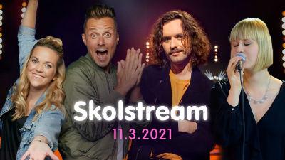 Ann-Karin, Jontti, Paul och Sandra bjuder in till skolstream 11.3.2021