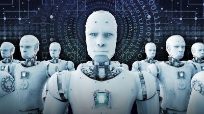 Vita animerade människoliknande robotar på rad.