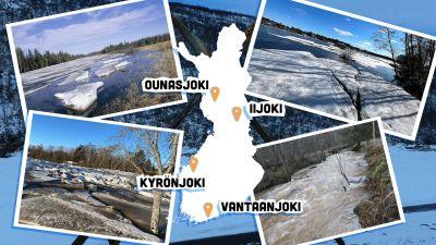 Suomen kartta, johon merkitty 4 keväistä jokea.