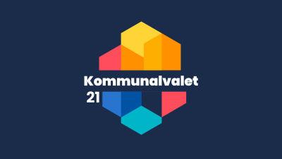 En färggrann logo med silhuetter av hus och texen Kommunalvalet 21.