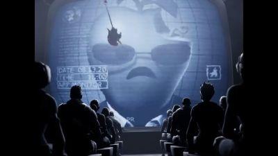Ett talande ondskefullt äpple på en skärm.