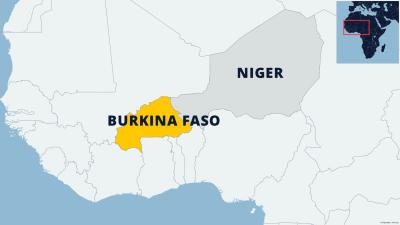 Kartta näyttää Burkina Fason sijainnin.