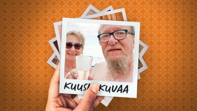 Jaakko Löytty puolisonsa Kaija Pispan kanssa kohottavat kuohuviinimaljat selfiessä merimaisemassa.