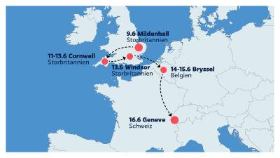 En karta med datumen för Bidens Europabesök.