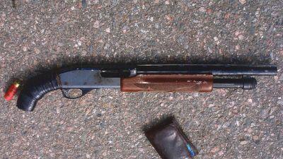 Hagelgeväret som som gärningsmannen använde vid gisslandramat i Borgå 2002
