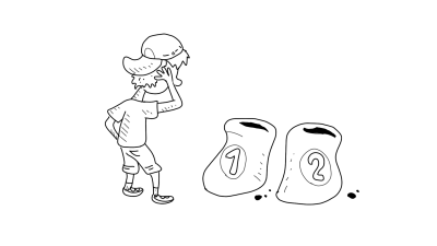 Piirroskuvassa henkilö on epävarma siitä, minkä lannoitteen valitsisi kasveilleen.