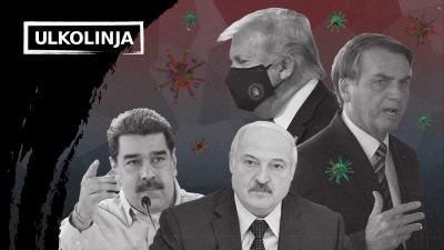 Kuvassa valtionpäämiehet Donald Trump, Jair Bolsonaro, Aleksandr Lukasenka ja Nicolas Maduro, taustalla koronaviruksia