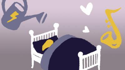 Pitkätukkainen hahmo nukkuu sängyssä peiton alla, hänen kasvojaan ei näy. Sängyn yläpuolella ilmassa leijailee salamakylkinen kastelukannu ja sydämiä tulviva saksofoni. Piirroskuva.