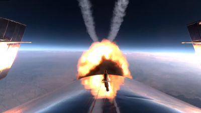 Utblåset på SpaceShipTwo-rymdskeppets raketmotor som kör för fullt.