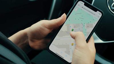 en karta på en del av åbo i en mobiltelefon