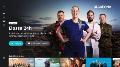 Yle Areenan uuden äly-tv-laitteille tehdyn sovelluksen etusivunäkymä