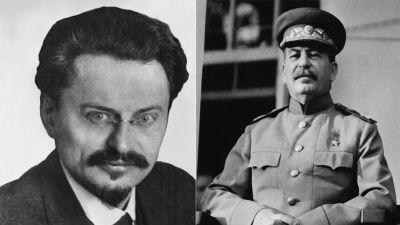 Bildcollage av Trotskij och Stalin