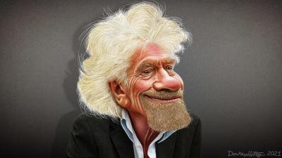Karikatyrteckning av sir Richard Branson.