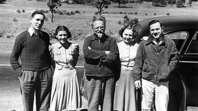 Trotskij i Mexico med amerikanska beundrare, parena DeBoer och Barlett kort före mordet 1940