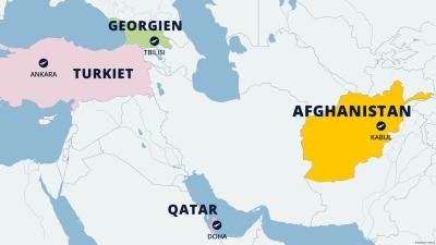 Karta över flygplatserna i Afghanistan, Qatar, Turkiet och Georgien.