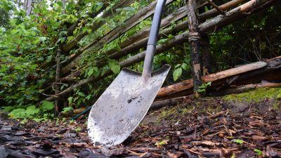 En spade i trädgården.