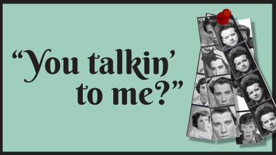 Kuvassa teksti You talkin to me? ja passiautomaattikuvia joissa elokuvahahmoja