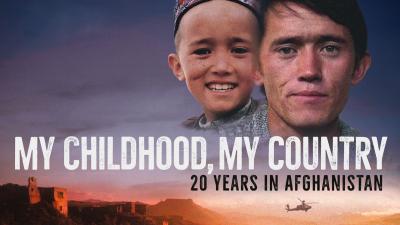 """En bild på en pojke och samma pojke som man. Texten """"My childhood, my country"""" går över bilden."""
