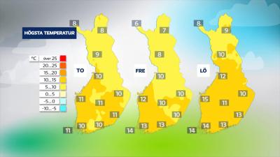 Karta över Finland som visar temperaturerna i landet under torsdag, fredag och lördag.
