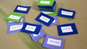 Ett hemgjort Alias-spel med babyrelaterade ord. Spelet används på babyshowers där deltagarna ska förklara orden på korten.