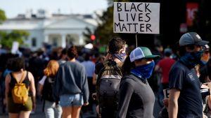 Mielenosoittajia lähellä Lafayetten puistoa Washington DC:ssä.