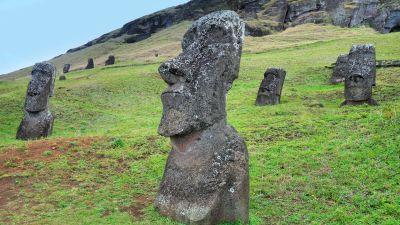 Moai-kivipatsaita ruohikkoisella Pääsiäissaarella.