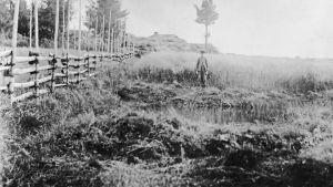 Ett svartvitt foto av en pojke som står vid källan Levänluhta.