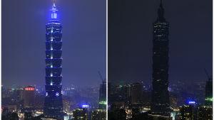 Taipei 101 -skyskrapan släckt under Earth Hour 2016.