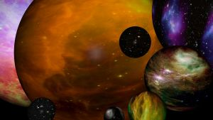 Konstnärens uppfattning av bubblir med parallella universum.