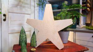 En stjärna i trä.