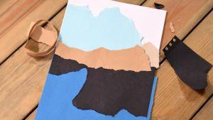 Ett landskap av rivet papper