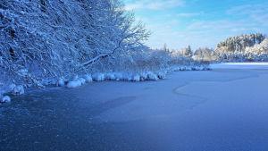 Talvinen maisema. Järvi jäässä.