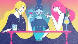 Kuvitus, kolme kaverusta istuu baarissa ja yksi on uppoutunut sosiaaliseen mediaan