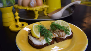 Två smörgåsar på en gul tallrik.