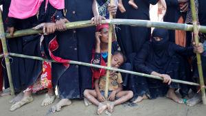 Rohingyer köar efter provianter i Cox Bazaar i Bangladesh.