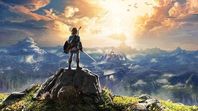 En karaktär med svärd och sköld blickar ut över ett vacker landskap.