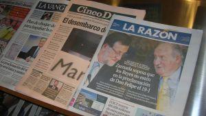 Espanjalaisten sanomalehtien etusivuja kesäkuussa 2014