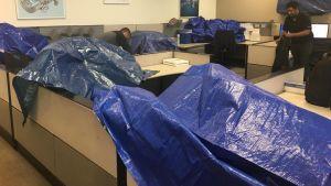 På Christian Sippus arbetsplats förbereder kollegerna inför orkanen Irma