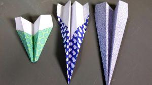 Tre pappersflygplan