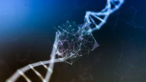 Konstnärens vision av en DNA-molekyl som skadas.