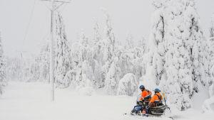 Två elreparatörer på snöskoter i en snöig skog.