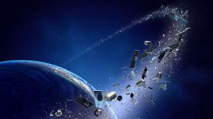 Illustrerad bild visar rymdskrot snurra kring jorden.