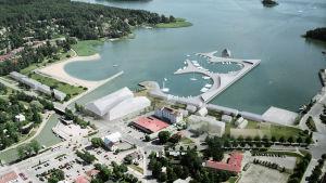 Visionsbild över gästhamnen i Pargas.