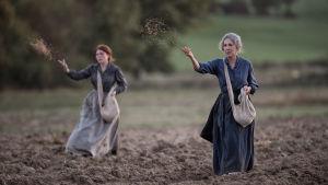 Francine (Iris Bry) ja Hortense (Nathalie Baye) pellolla kylvämässä elokuvassa Suojelijat