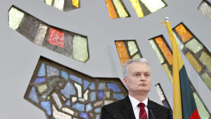 Gitanas Nausėda under en presskonferens i Vilnius den 27 maj 2019.